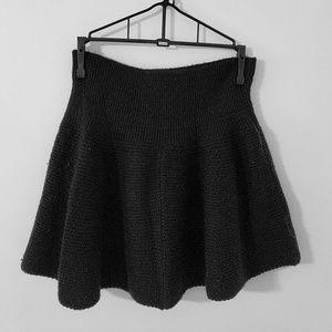 Black Sweater Skater Skirt